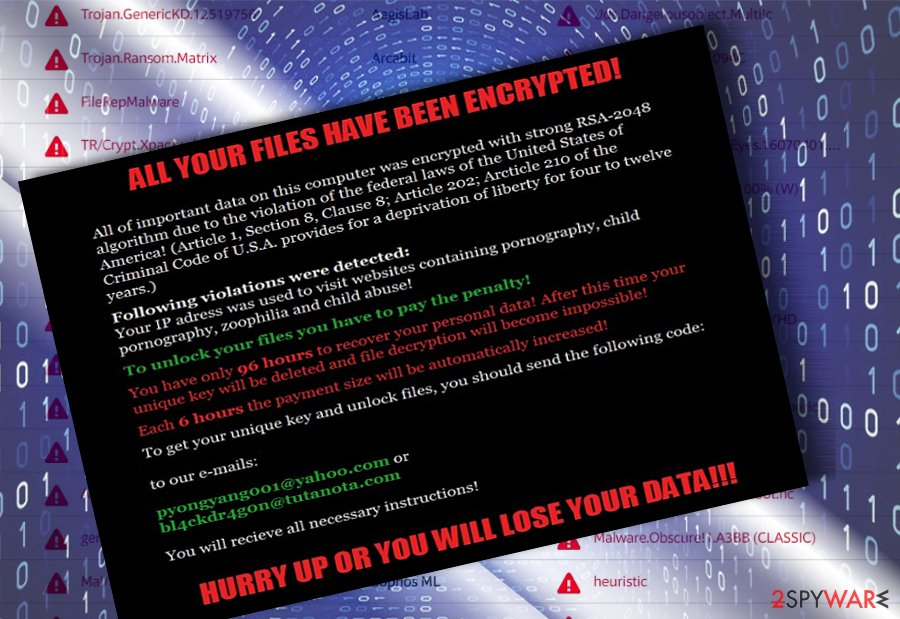 The screenshot of Matrix malware