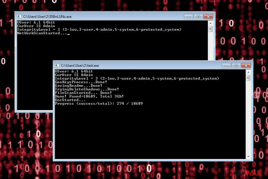 Matrix ransomware debugging messages