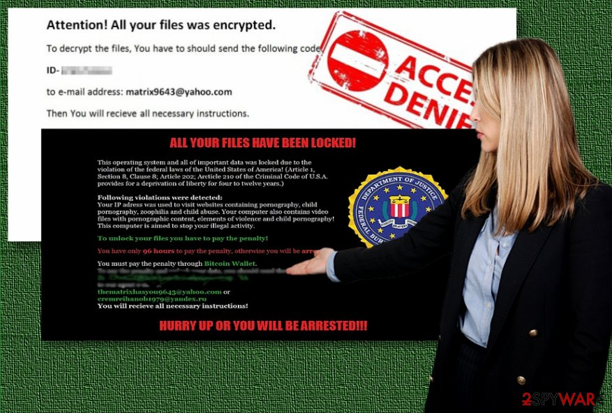 The examples of Matrix ransomware