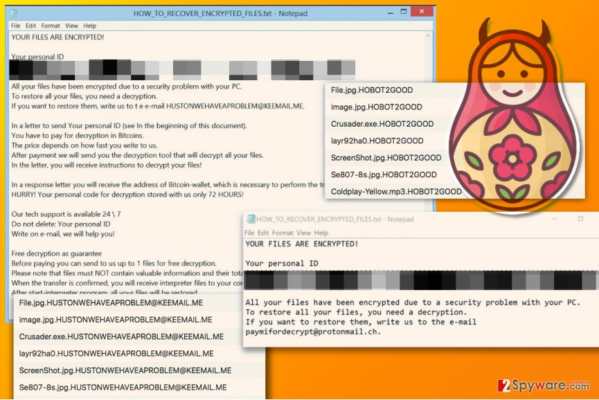 Image of ransom noted dropped by different Matroska ransomware versions
