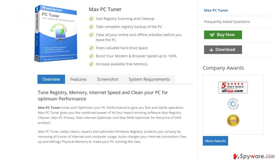 The picture showing Max PC Tuner