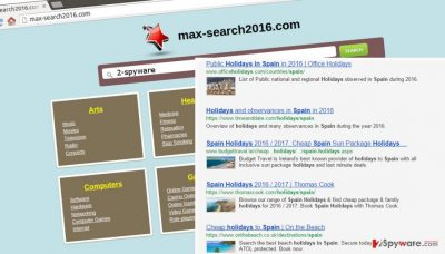 The illustration of Max-search2016.com virus