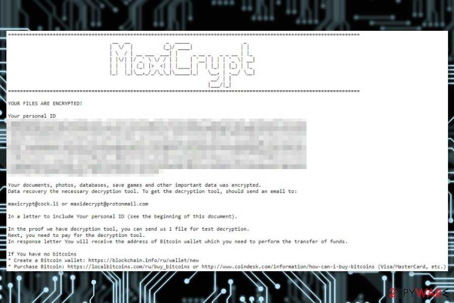 Ransom note by MaxiCrypt ransomware