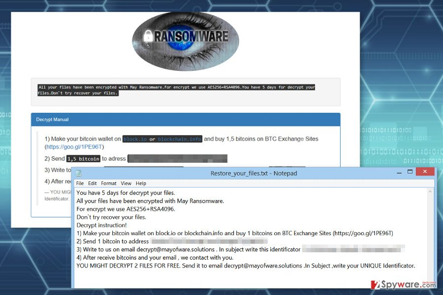 Ransom notes by Maysomware ransomware virus