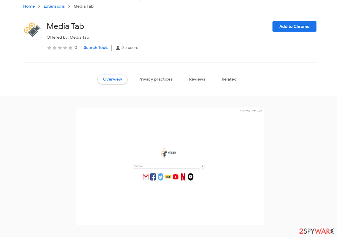 Media Tab on Chrome store