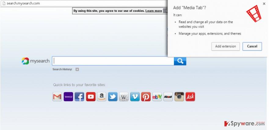 Screenshot of Media Tab virus in Chrome