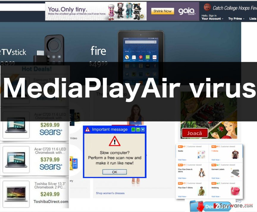 An illustration of MediaPlayAir adware ads