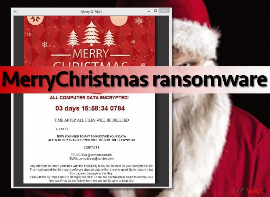 Image of MerryChristmas virus displaying the ransom note