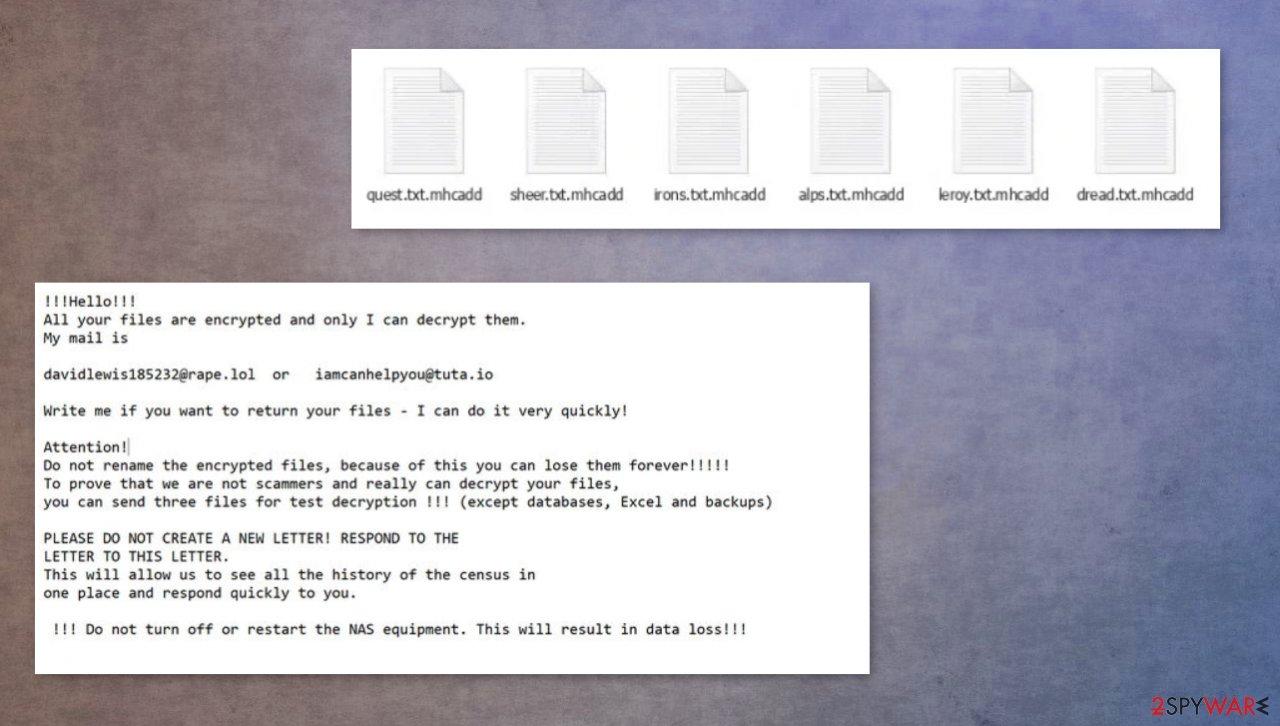 Mhcadd ransomware virus