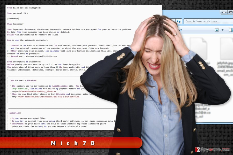 The picture of Mich78 ransomware virus