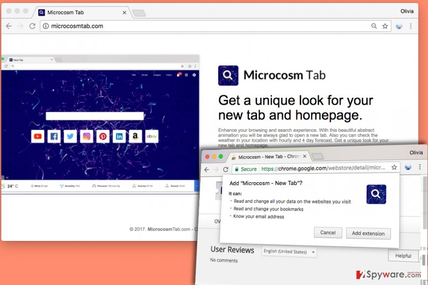 Microcosm New Tab is advertised on Microcosmtab.com site