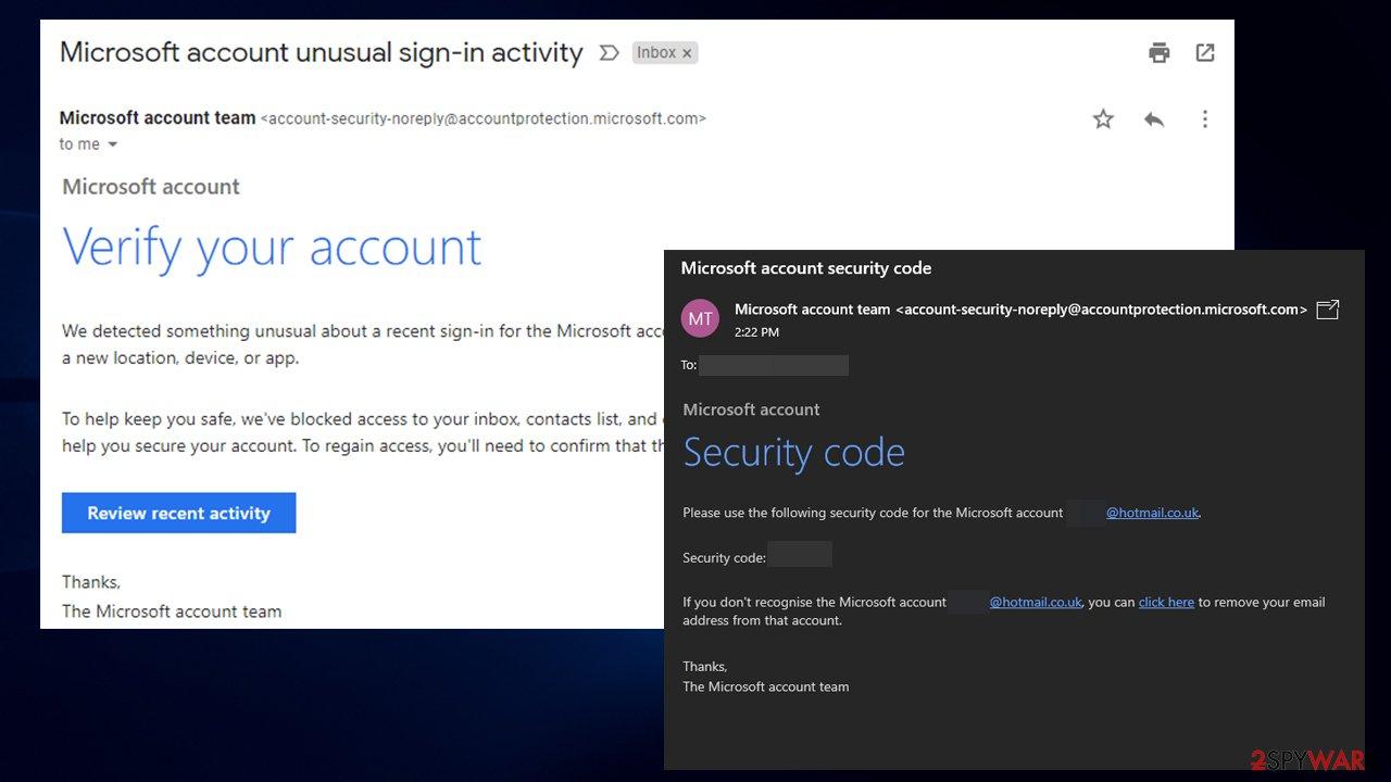 Microsoft account password reset email scam