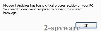 Microsoft Antivirus has found critical process activity on your PC