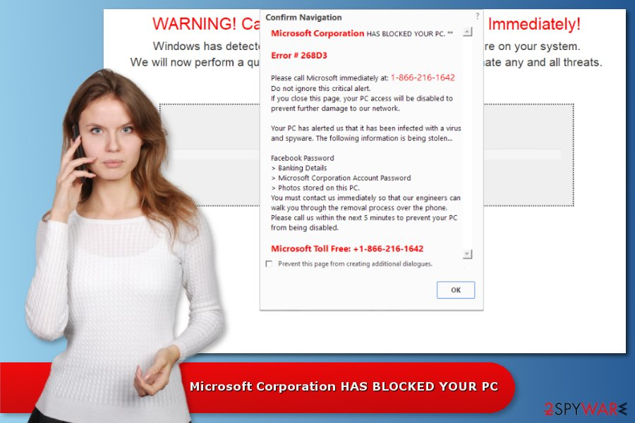"Example of ""Microsoft Corporation HAS BLOCKED YOUR PC"" scam"