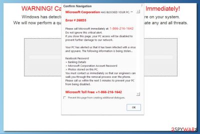 "Screenshot of ""Microsoft Corporation HAS BLOCKED YOUR PC"" virus"