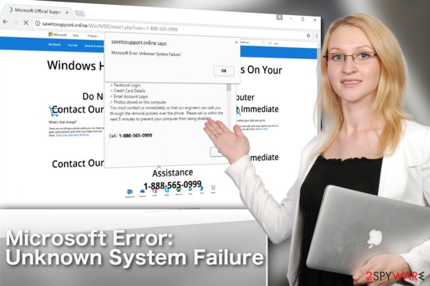 """Microsoft Error: Unknown System Failure"" adware virus illustration"