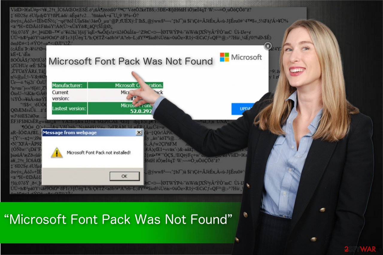 """Microsoft Font Pack Was Not Found"" scam illustration"