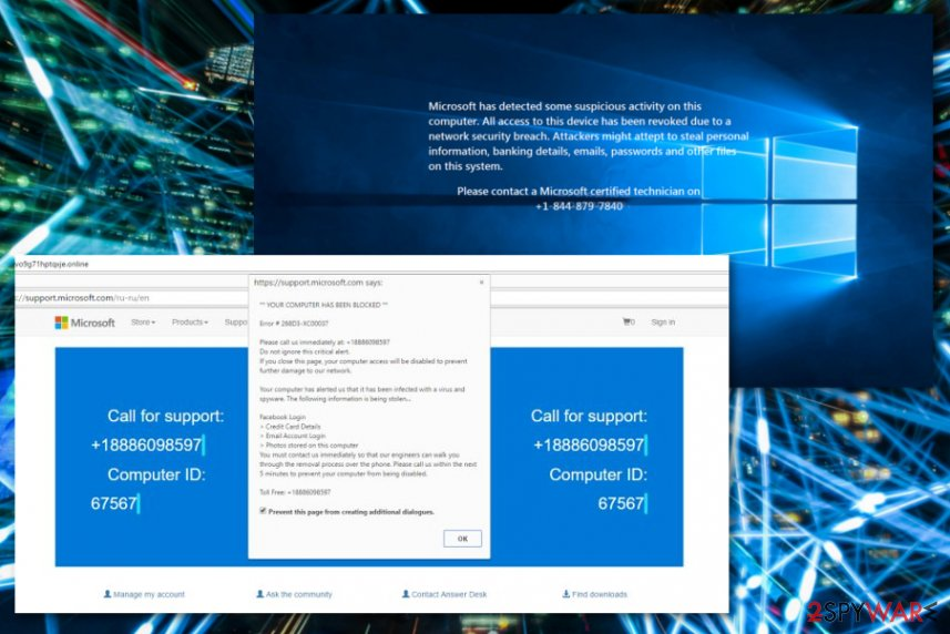 """Microsoft has detected suspicious activity"" Tech support scam"