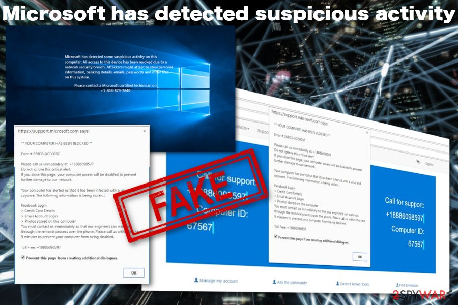 """Microsoft has detected suspicious activity"" virus"