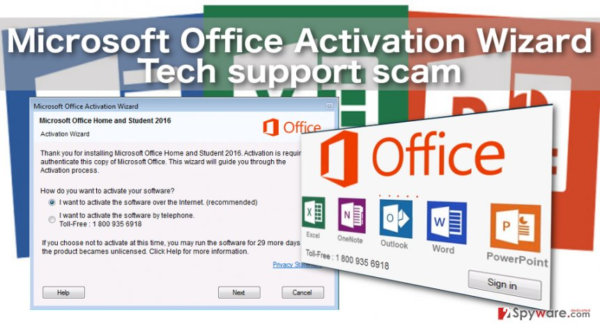 Example of the Microsoft Office Activation Wizard Tech support scam virus