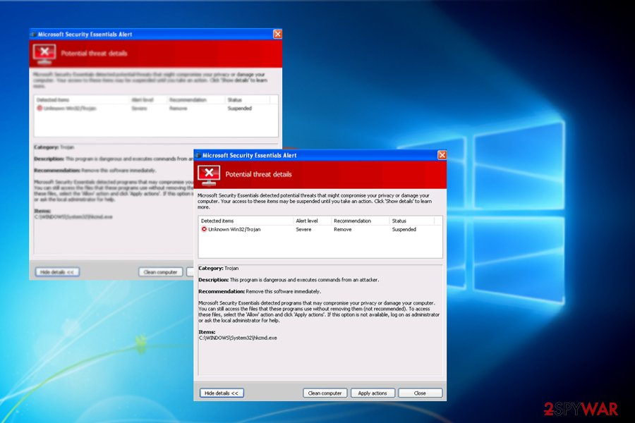 The image displaying Microsoft Security Essentials Alert trojan