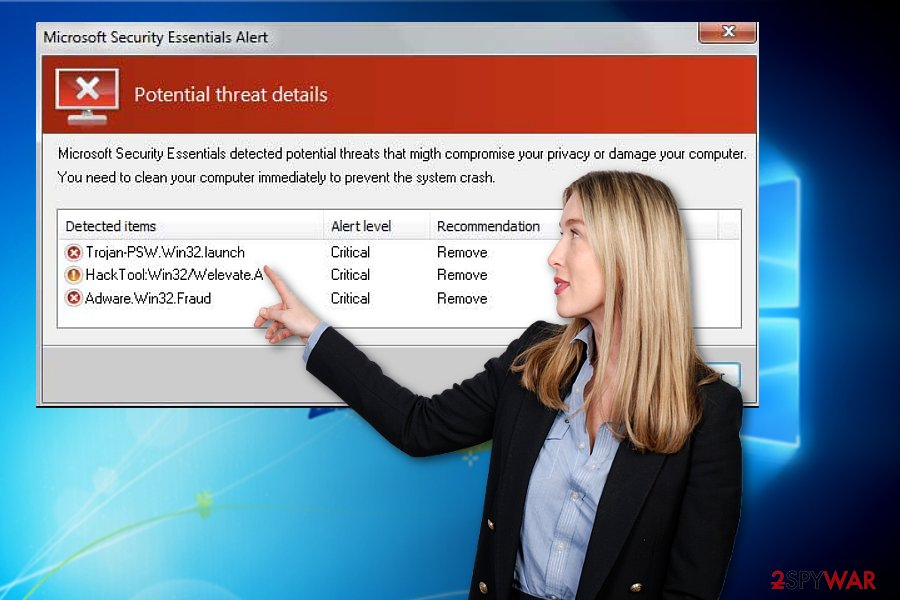 The picture illustrating Microsoft Security Essentials Alert sample
