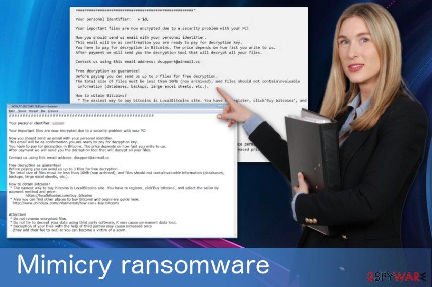 Mimicry ransomware virus