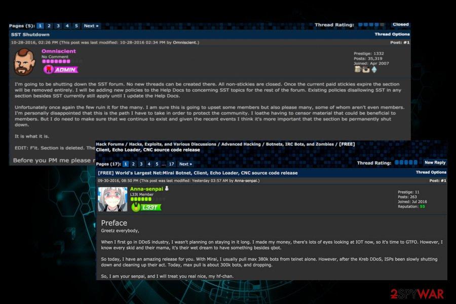 Mirai botnet source code leaked