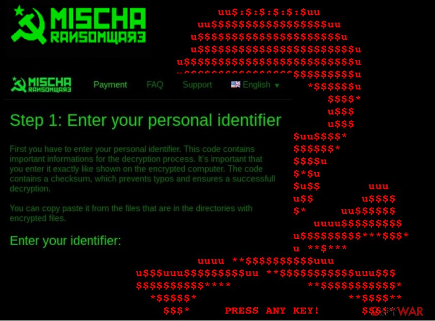 An illustration of the Mischa ransomware virus