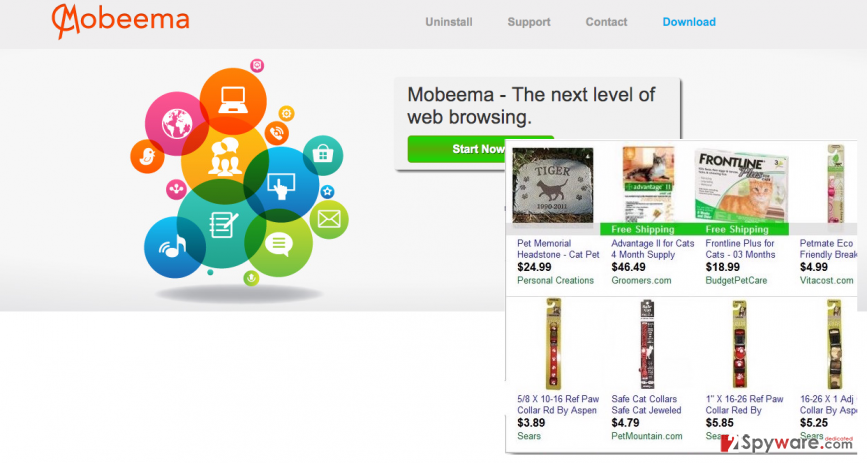 Mobeema virus and its ads displayed on commercial sites
