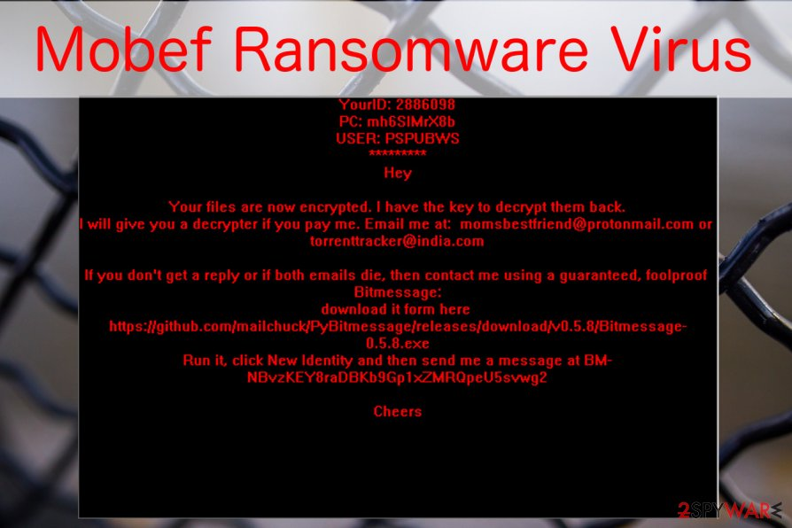 Mobef ransomware virus image