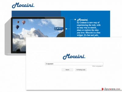 An image of the Moccini Search virus download website and search engine