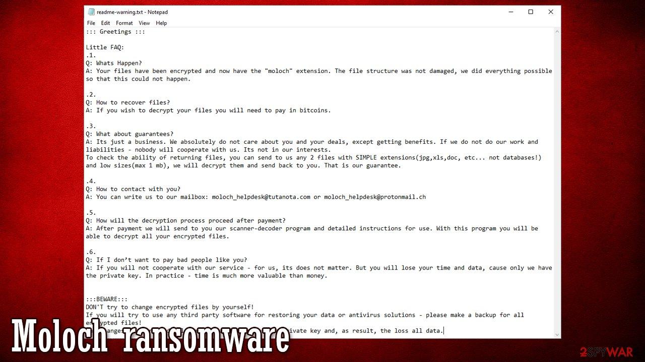 Moloch ransomware