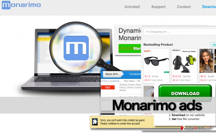 Screenshot of the official website of Monarimo adware