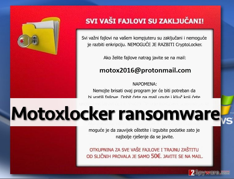 DetoxCrypto new variant - MotoxLocker virus demands money