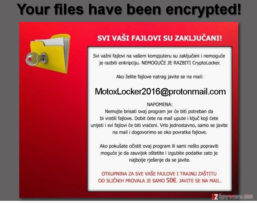 MotoxLocker2016@protonmail.com email is provided in the ransom note