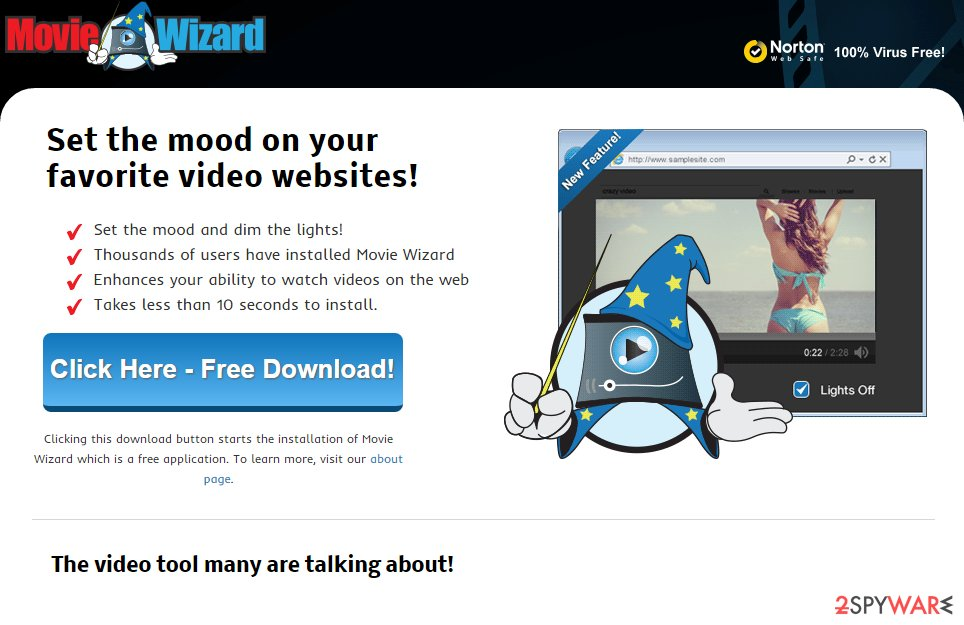 Movie Wizard adware snapshot