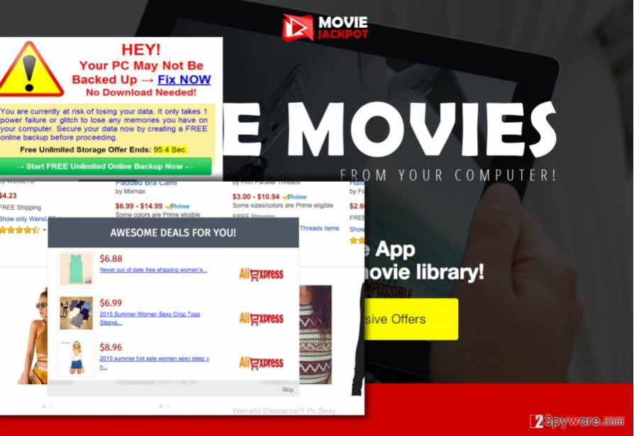 MovieJackpot virus displays intrusive pop-up ads