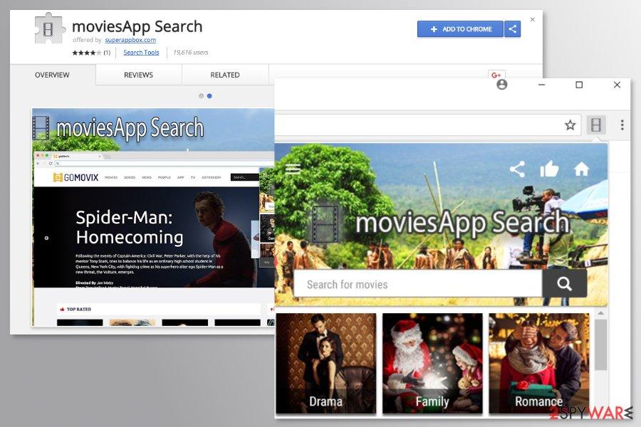 MoviesApp Search Chrome extension