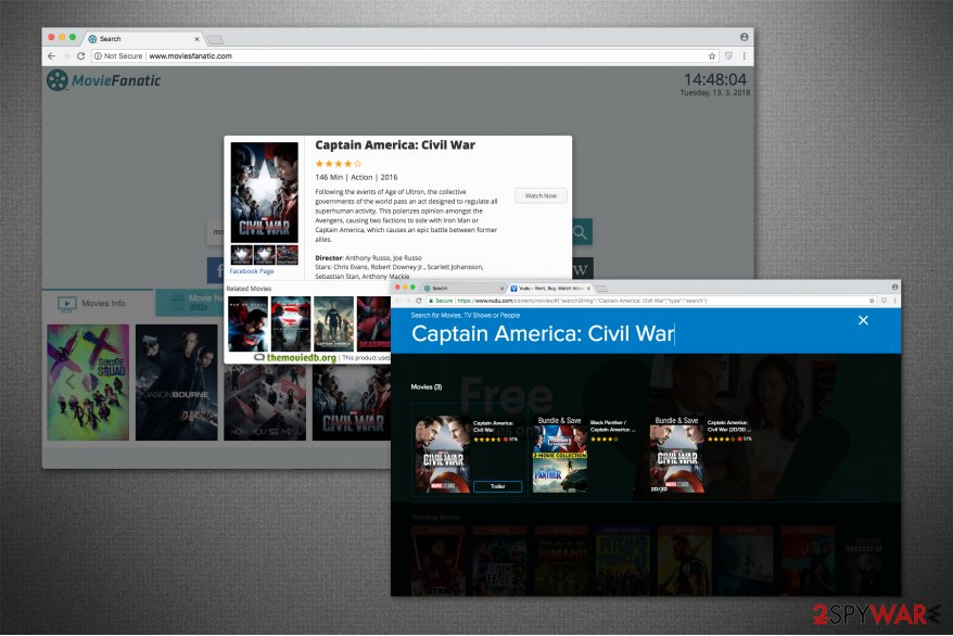 Moviesfanatic.com redirects to movie streaming sites