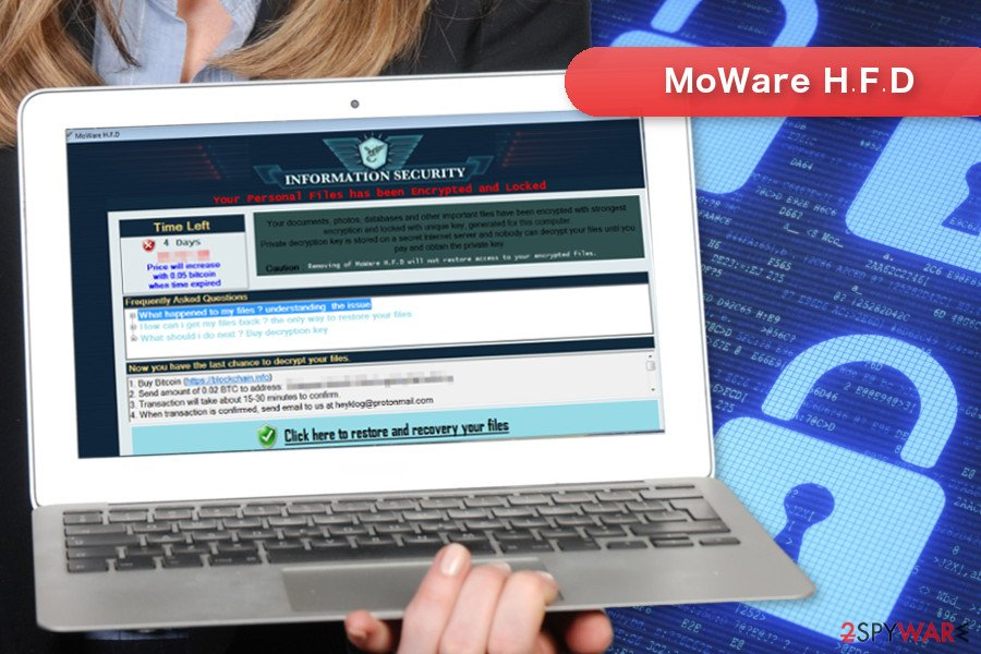 The image of MoWare H.F.D ransomware virus