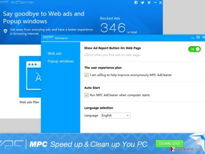 An illustration of the MPC AdCleaner software