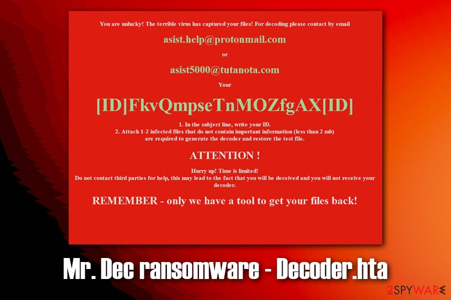 Mr.Dec ransomware ransom note