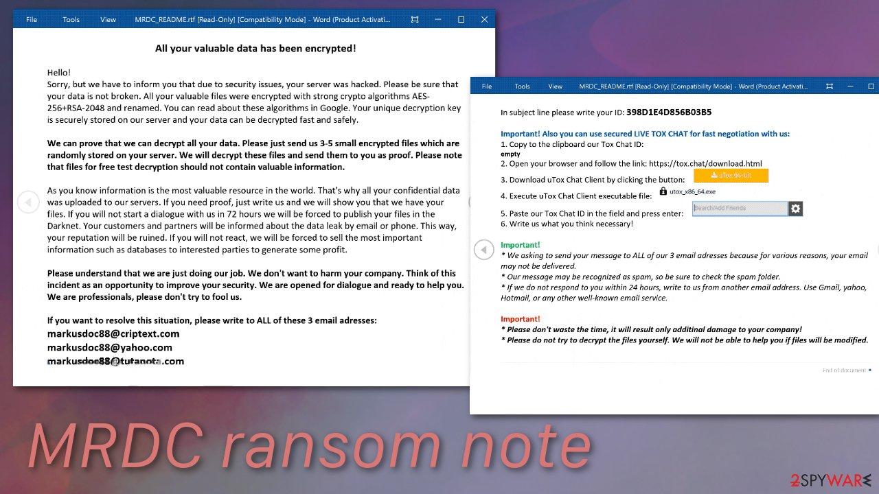 MRDC ransom note
