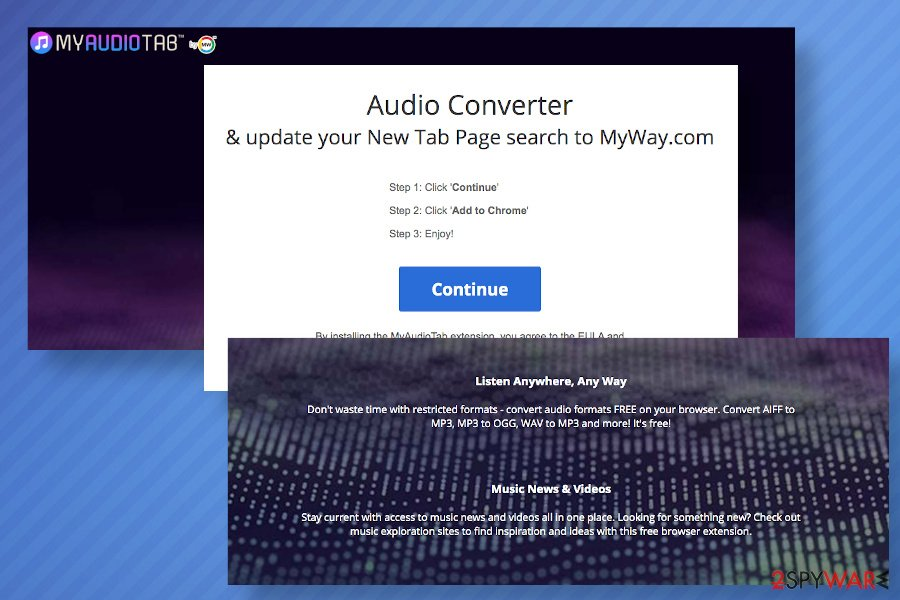 Hp.myway.com can be set by MyAudioTab toolbar