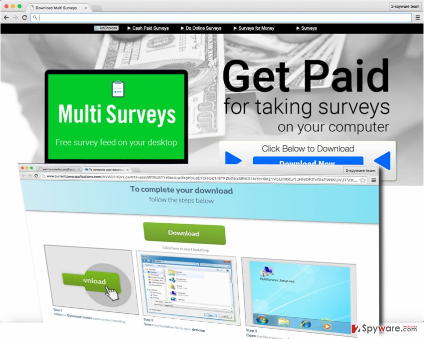 Screenshot of MultiSurveys adware official website