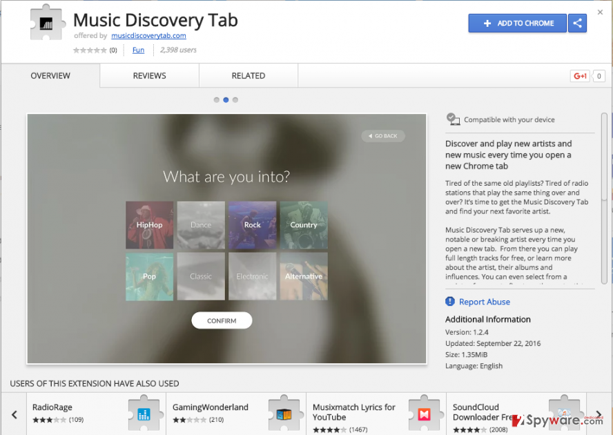 the image of Music Discovery Tab extension