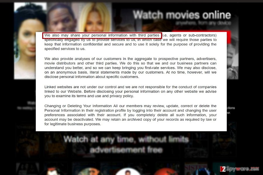 The screenshot of  Muvflix privacy policy