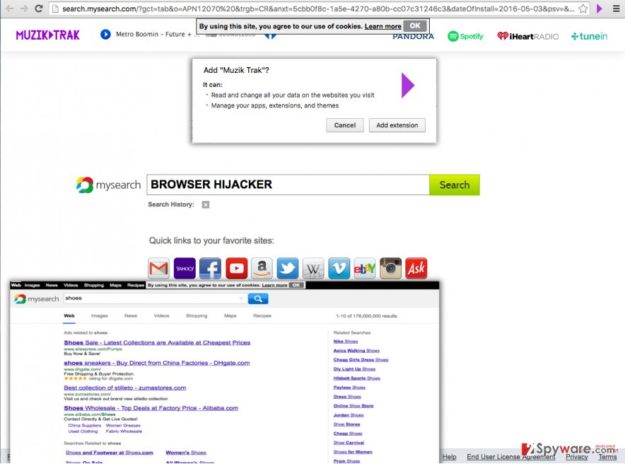 Muzik Trak browser hijacker controls browser's homepage