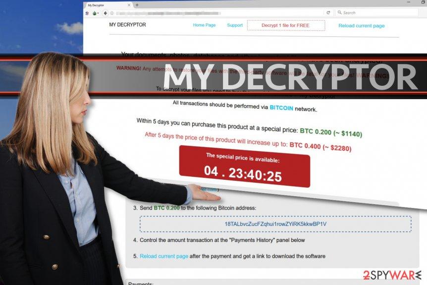 My Decryptor virus encodes data for a ransom